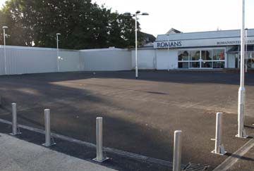carpark surface and bollards